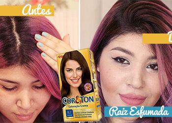 Raiz esfumada no cabelo lilás/roxo
