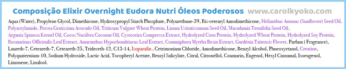 Composição Eudora Nutri Óleos Poderoso